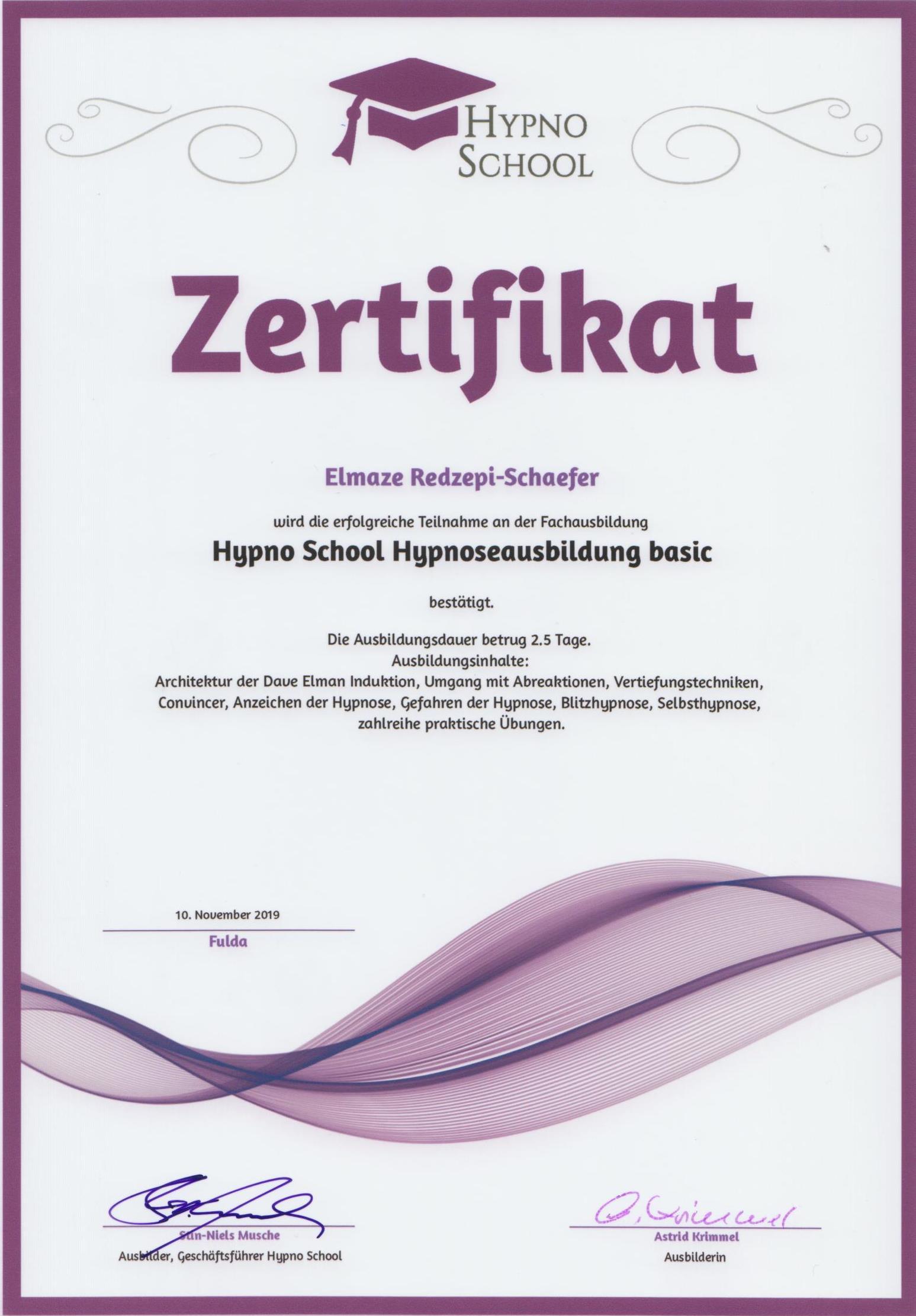 Eli Schäfer Hypnose Basic Ausbildung