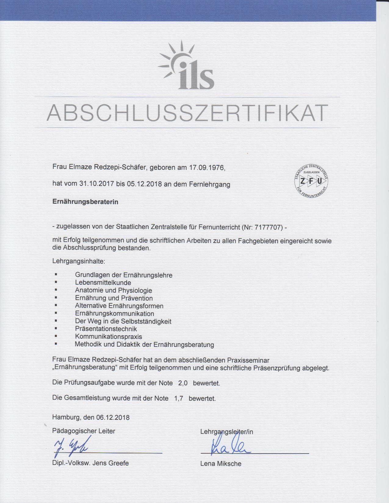 Abschluss Ernährungsberaterin Eli Schäfer