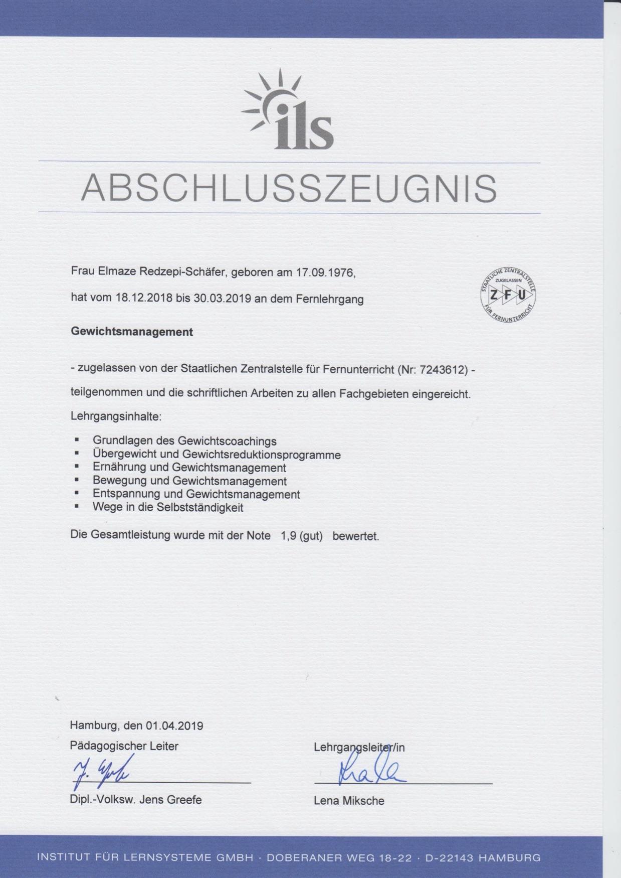 Zeugnis Gewichtsmanagement Eli Schäfer