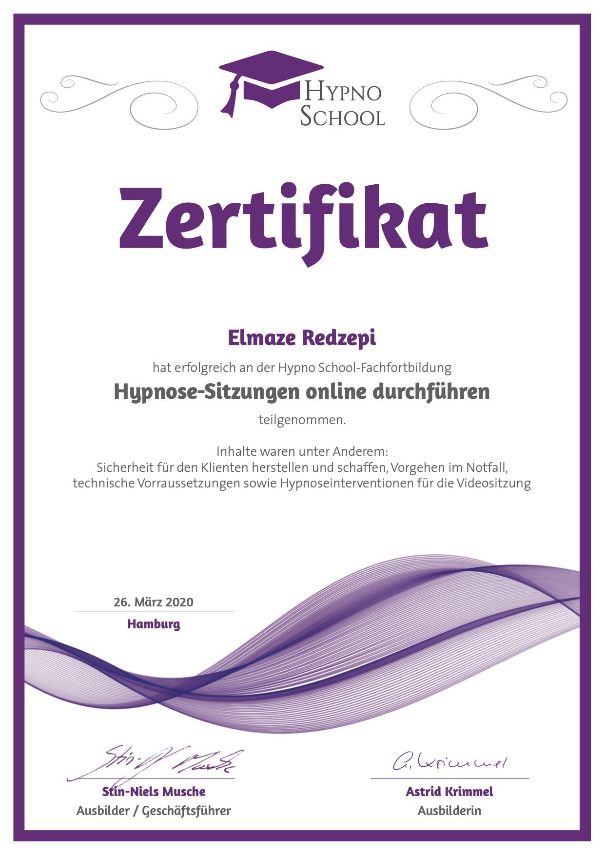 EliHypnose Sitzung Online führen Eli Schäfer