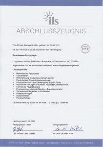Zeugnis Abschluss Grundlagen Psychologie Eli Schäfer