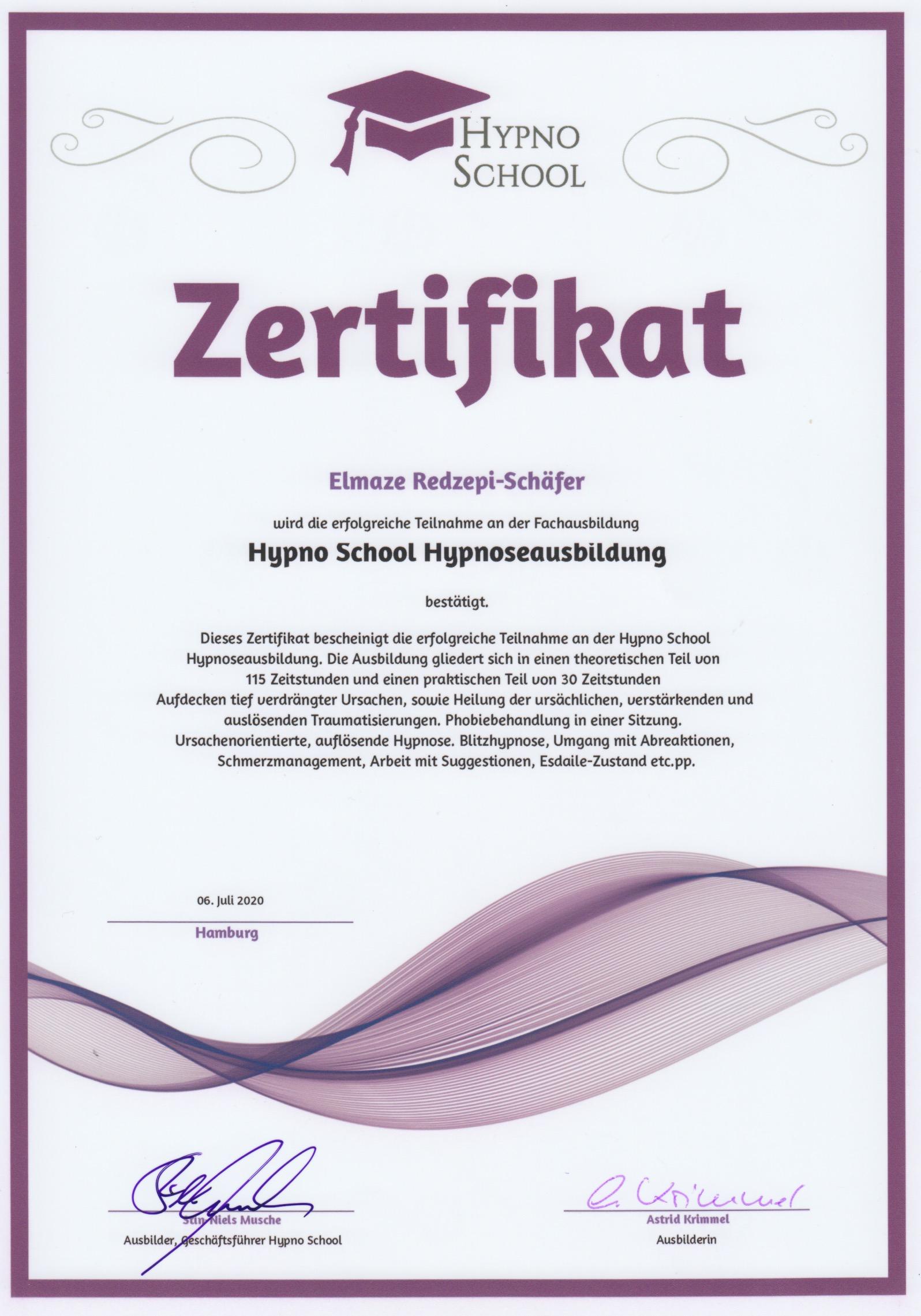 Eli Schäfer Hypnose Hybrid Ausbildung